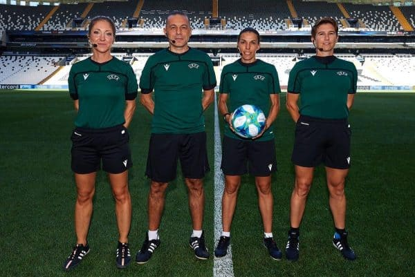 ISTANBUL, TURKEY - Tuesday, August 13, 2019: Assistant referee Manuela Nicolosi, fourth official Cuneyt Cakir, referee Stephanie Frappart and assistant referee Michelle O'Neill during a training session ahead of the UEFA Super Cup match between Liverpool FC and Chelsea FC. (Pic by Handout/UEFA)