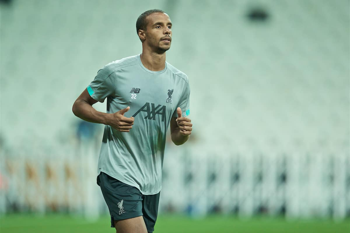 ISTANBUL, TURKEY - Tuesday, August 13, 2019: Liverpool's Joel Matip during a training session ahead of the UEFA Super Cup match between Liverpool FC and Chelsea FC at Besiktas Park. (Pic by David Rawcliffe/Propaganda)