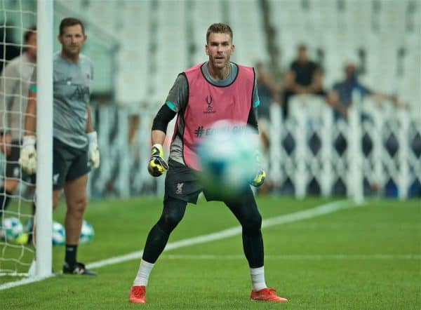 ISTANBUL, TURKEY - Tuesday, August 13, 2019: Liverpool's goalkeeper Adrián San Miguel del Castillo during a training session ahead of the UEFA Super Cup match between Liverpool FC and Chelsea FC at Besiktas Park. (Pic by David Rawcliffe/Propaganda)