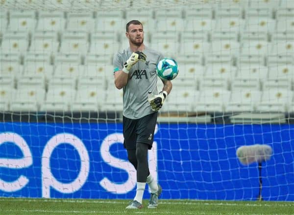 ISTANBUL, TURKEY - Tuesday, August 13, 2019: Liverpool's goalkeeper Andy Lonergan during a training session ahead of the UEFA Super Cup match between Liverpool FC and Chelsea FC at Besiktas Park. (Pic by David Rawcliffe/Propaganda)