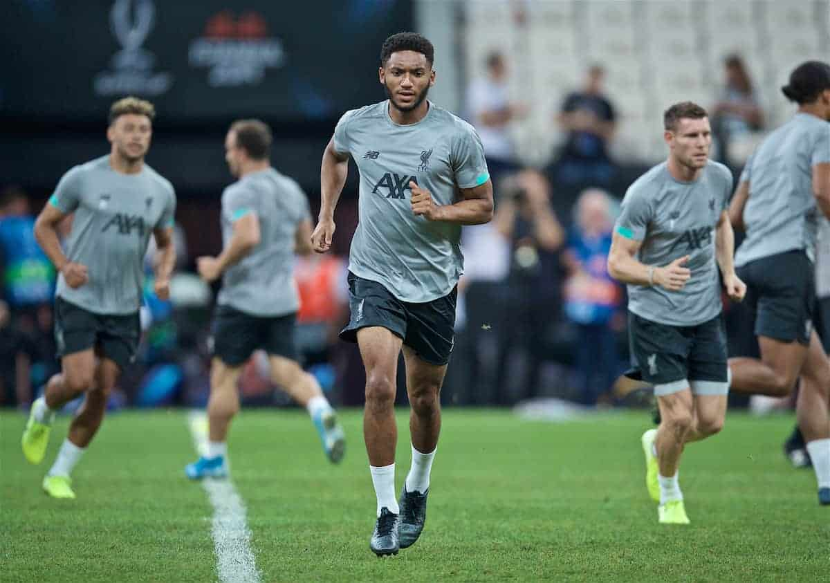 ISTANBUL, TURKEY - Tuesday, August 13, 2019: Liverpool's Joe Gomez during a training session ahead of the UEFA Super Cup match between Liverpool FC and Chelsea FC at Besiktas Park. (Pic by David Rawcliffe/Propaganda)