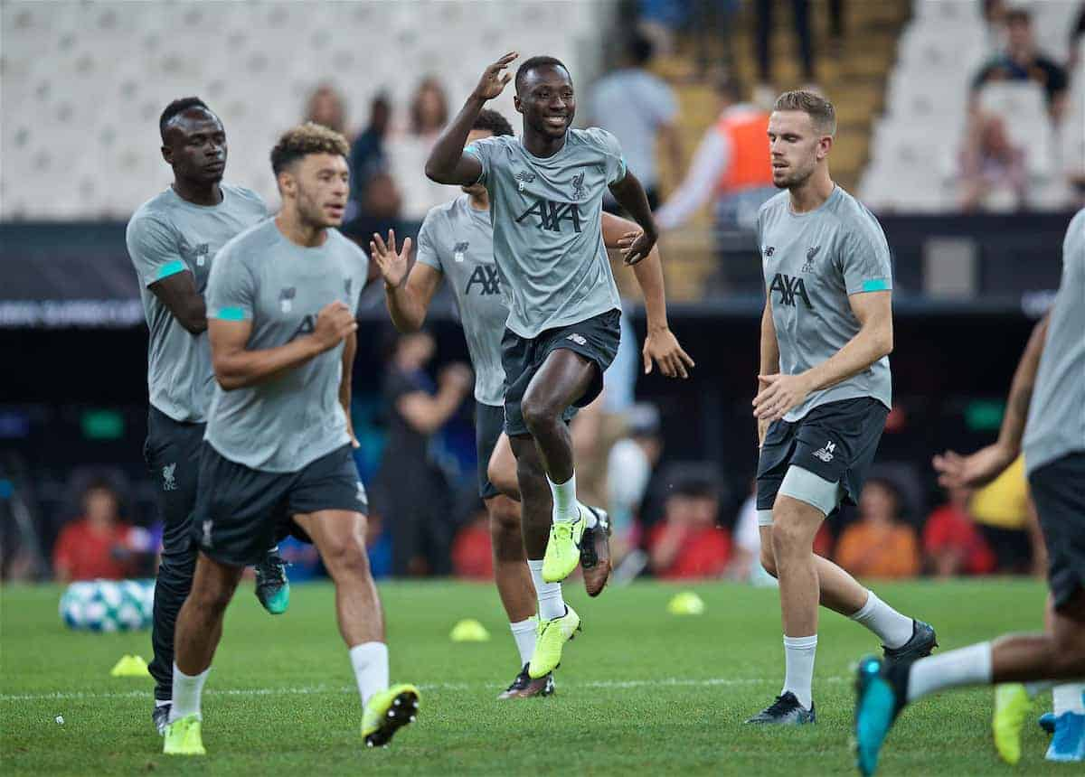 ISTANBUL, TURKEY - Tuesday, August 13, 2019: Liverpool's Naby Keita during a training session ahead of the UEFA Super Cup match between Liverpool FC and Chelsea FC at Besiktas Park. (Pic by David Rawcliffe/Propaganda)