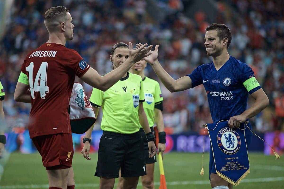 ISTANBUL, TURKEY - Wednesday, August 14, 2019: Liverpool's captain Jordan Henderson (L) and captain Cesar Azpilicueta during the UEFA Super Cup match between Liverpool FC and Chelsea FC at Besiktas Park. (Pic by David Rawcliffe/Propaganda)