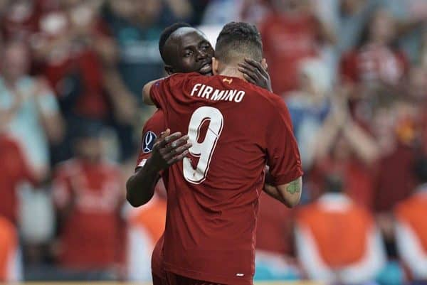 ISTANBUL, TURKEY - Wednesday, August 14, 2019: Liverpool's Sadio Mane celebrates scoring the first equalising goal with team-mate Roberto Firmino (#9) during the UEFA Super Cup match between Liverpool FC and Chelsea FC at Besiktas Park. (Pic by David Rawcliffe/Propaganda)