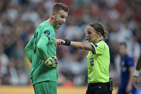ISTANBUL, TURKEY - Wednesday, August 14, 2019: Liverpool's goalkeeper Adrián San Miguel del Castillo reacts after a penalty is awarded by referee Stéphanie Frappart during the UEFA Super Cup match between Liverpool FC and Chelsea FC at Besiktas Park. (Pic by David Rawcliffe/Propaganda)