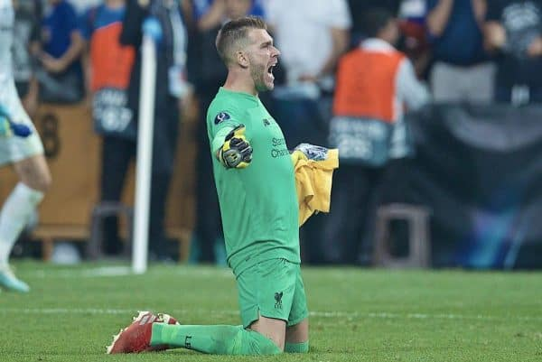 ISTANBUL, TURKEY - Wednesday, August 14, 2019: Liverpool's goalkeeper Adrián San Miguel del Castillo celebrates after saving the decisive fifth penalty from Chelsea in the shoot-out to win the Super Cup during the UEFA Super Cup match between Liverpool FC and Chelsea FC at Besiktas Park. Liverpool won 5-4 on penalties after a 1-1 draw. (Pic by David Rawcliffe/Propaganda)