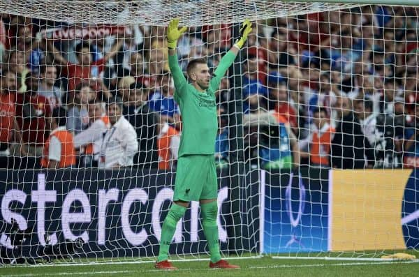 ISTANBUL, TURKEY - Wednesday, August 14, 2019: Liverpool's goalkeeper Adrián San Miguel del Castillo tries to put off Chelsea's Tammy Abraham as he saves the decisive fifth penalty in the shoot-out to win the Super Cup during the UEFA Super Cup match between Liverpool FC and Chelsea FC at Besiktas Park. Liverpool won 5-4 on penalties after a 1-1 draw. (Pic by David Rawcliffe/Propaganda)