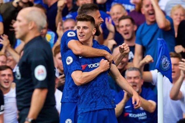 LONDON, ENGLAND - Sunday, August 18, 2019: Chelsea's Mason Mount celebrates scoring the first goal during the FA Premier League match between Chelsea's FC and Leicester City FC at Stamford Bridge. (Pic by David Rawcliffe/Propaganda)