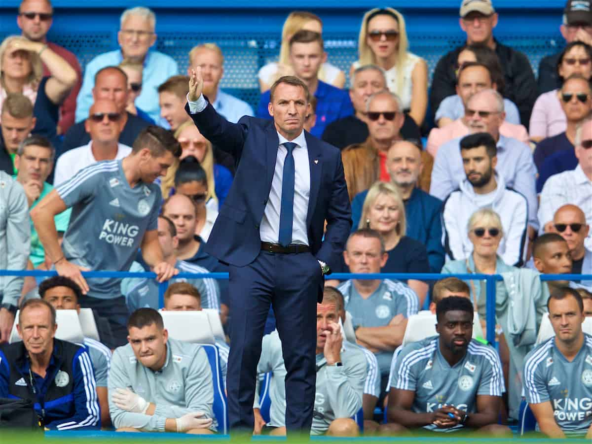 LONDON, ENGLAND - Sunday, August 18, 2019: Leicester City's Brendan Rodgers during the FA Premier League match between Chelsea's FC and Leicester City FC at Stamford Bridge. (Pic by David Rawcliffe/Propaganda)