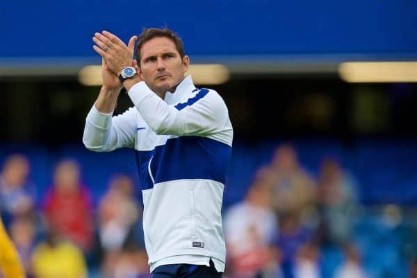 LONDON, ENGLAND - Sunday, August 18, 2019: Chelsea's manager Frank Lampard applauds the supporters after the FA Premier League match between Chelsea's FC and Leicester City FC at Stamford Bridge. The game ended in a 1-1 draw. (Pic by David Rawcliffe/Propaganda)