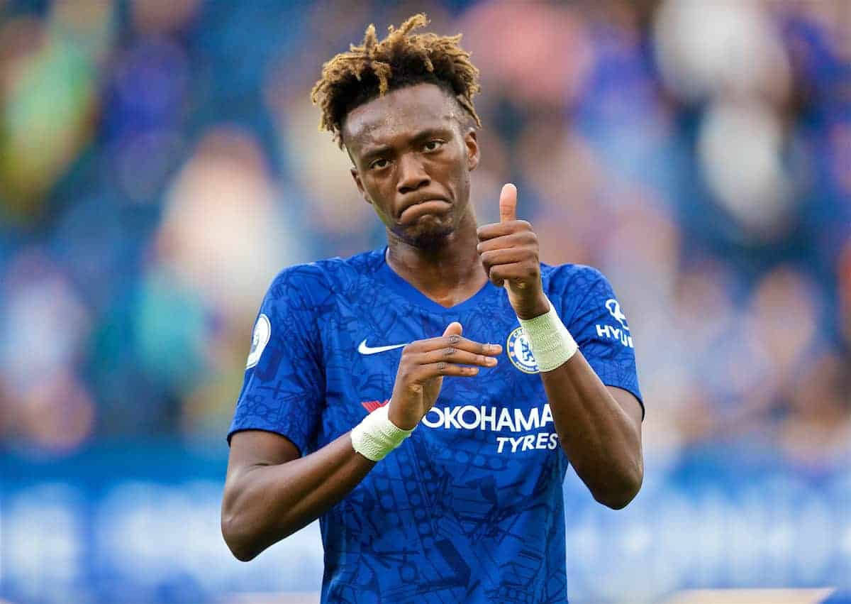 LONDON, ENGLAND - Sunday, August 18, 2019: Chelsea's substitute Tammy Abraham after the FA Premier League match between Chelsea's FC and Leicester City FC at Stamford Bridge. The game ended in a 1-1 draw. (Pic by David Rawcliffe/Propaganda)