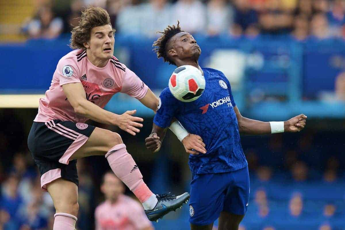 LONDON, ENGLAND - Sunday, August 18, 2019: Chelsea's Tammy Abraham (R) controls the ball under pressure from Leicester City's Ça?lar Söyüncü during the FA Premier League match between Chelsea's FC and Leicester City FC at Stamford Bridge. (Pic by David Rawcliffe/Propaganda)