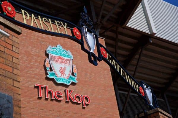 LIVERPOOL, ENGLAND - Saturday, August 24, 2019: The Paisley Gateway outside Liverpool's Spion Kop pictured before the FA Premier League match between Liverpool FC and Arsenal FC. (Pic by David Rawcliffe/Propaganda)
