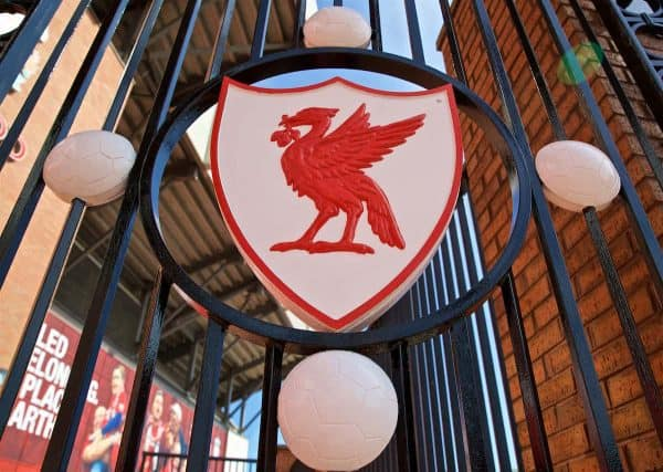 LIVERPOOL, ENGLAND - Saturday, August 24, 2019: A Liverbird on the Paisley Gates pictured before the FA Premier League match between Liverpool FC and Arsenal FC at Anfield. (Pic by David Rawcliffe/Propaganda)