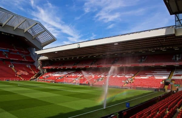 LIVERPOOL, ENGLAND - Saturday, August 24, 2019: A general view of Liverpool's Anfield stadium pictured from the Kenny Dalglish stand looking across the pitch to the Anfield Road before the FA Premier League match between Liverpool FC and Arsenal FC at Anfield. The club this week announced intentions to redevelop the Anfield Road end and increase capacity to over 60,000. (Pic by David Rawcliffe/Propaganda)