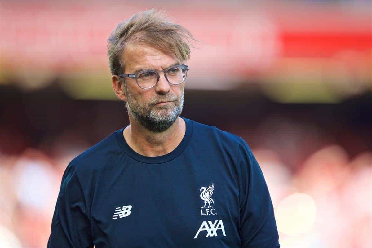 LIVERPOOL, ENGLAND - Saturday, August 24, 2019: Liverpool's manager Jürgen Klopp during the pre-match warm-up before the FA Premier League match between Liverpool FC and Arsenal FC at Anfield. (Pic by David Rawcliffe/Propaganda)