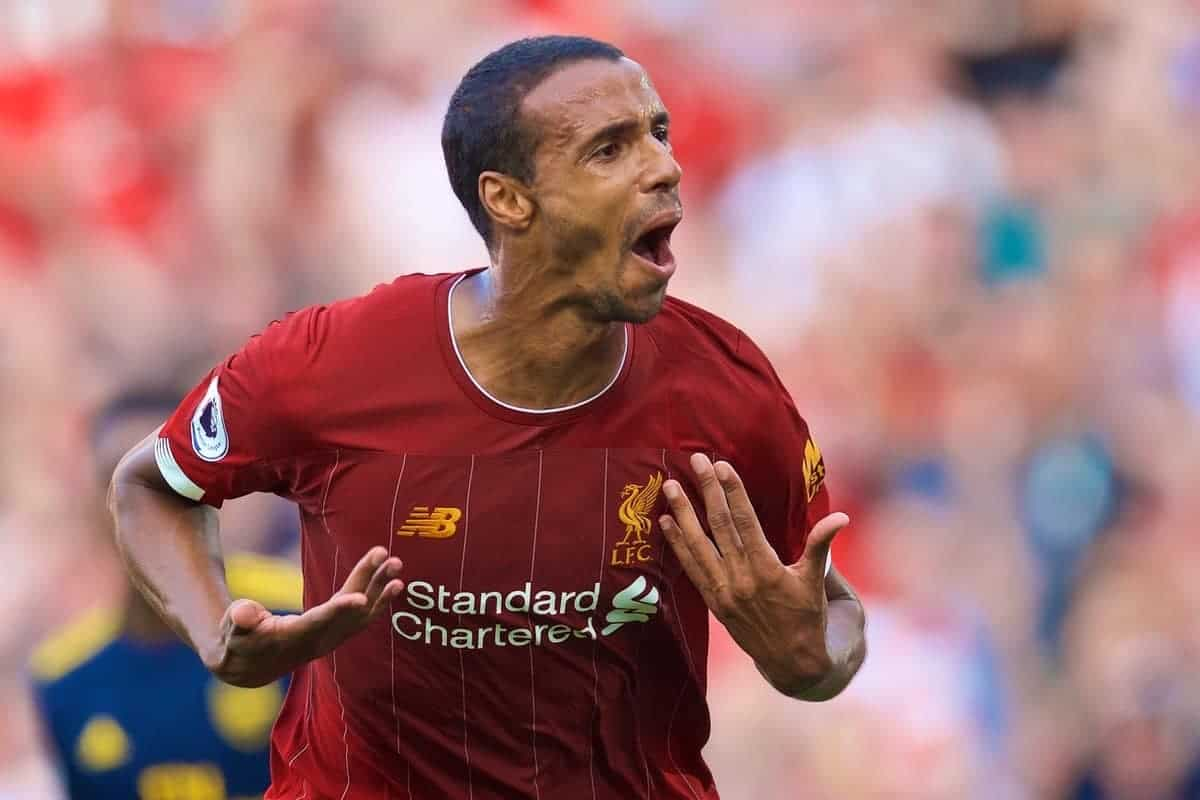 LIVERPOOL, ENGLAND - Saturday, August 24, 2019: Liverpool's Joel Matip celebrates scoring the first goal during the FA Premier League match between Liverpool FC and Arsenal FC at Anfield. (Pic by David Rawcliffe/Propaganda)