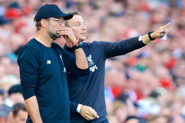 LIVERPOOL, ENGLAND - Saturday, August 24, 2019: Liverpool's manager Jürgen Klopp (L) and first-team development coach Pepijn Lijnders during the FA Premier League match between Liverpool FC and Arsenal FC at Anfield. (Pic by David Rawcliffe/Propaganda)