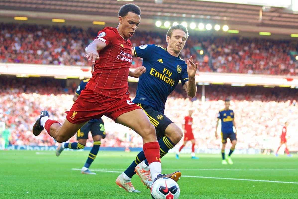 LIVERPOOL, ENGLAND - Saturday, August 24, 2019: Liverpool's Trent Alexander-Arnold during the FA Premier League match between Liverpool FC and Arsenal FC at Anfield. (Pic by David Rawcliffe/Propaganda)