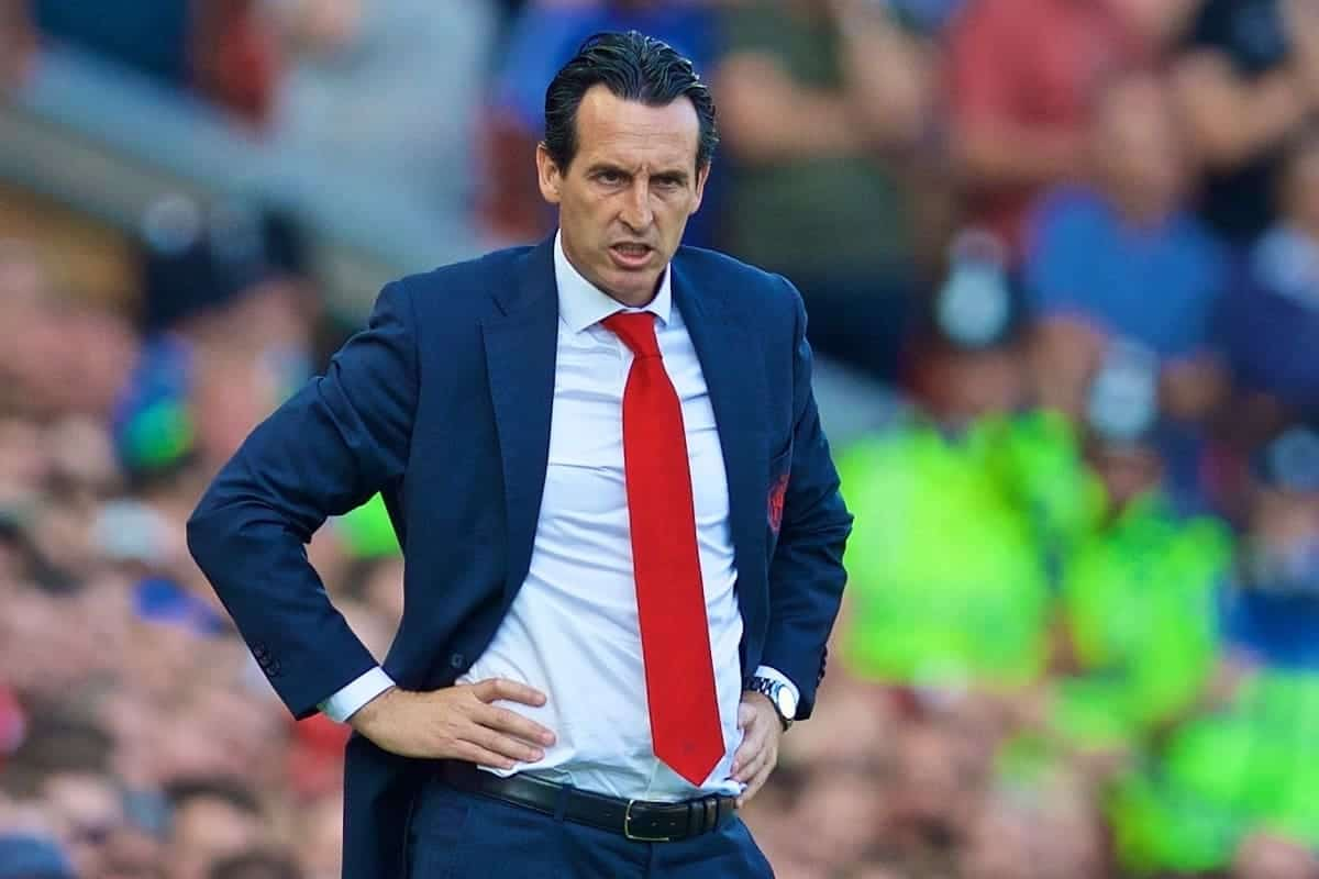 LIVERPOOL, ENGLAND - Saturday, August 24, 2019: Arsenal's manager Unai Emery during the FA Premier League match between Liverpool FC and Arsenal FC at Anfield. (Pic by David Rawcliffe/Propaganda)