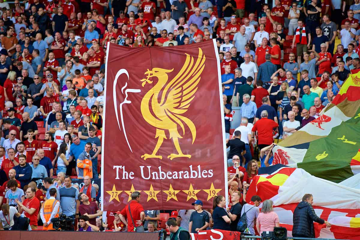 "LIVERPOOL, ENGLAND - Saturday, August 24, 2019: Liverpool supporters' banner ""The Unbearables"" during the FA Premier League match between Liverpool FC and Arsenal FC at Anfield. (Pic by David Rawcliffe/Propaganda)"