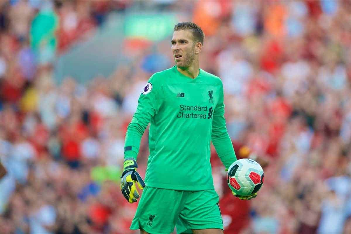 LIVERPOOL, ENGLAND - Saturday, August 24, 2019: Liverpool's goalkeeper Adrián San Miguel del Castillo during the FA Premier League match between Liverpool FC and Arsenal FC at Anfield. (Pic by David Rawcliffe/Propaganda)