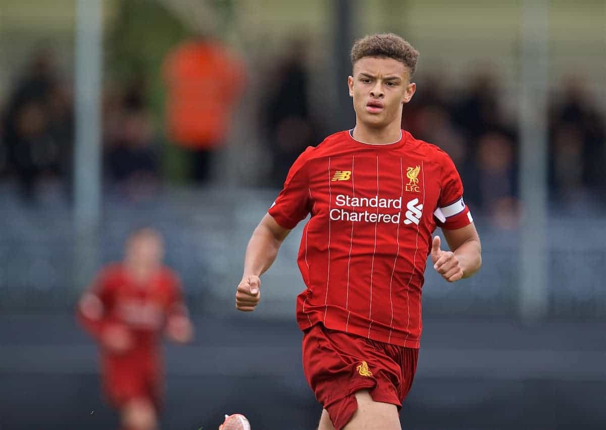 KIRKBY, ENGLAND - Saturday, August 31, 2019: Liverpool's captain Fidel O'Rourke during the Under-18 FA Premier League match between Liverpool FC and Manchester United at the Liverpool Academy. (Pic by David Rawcliffe/Propaganda)