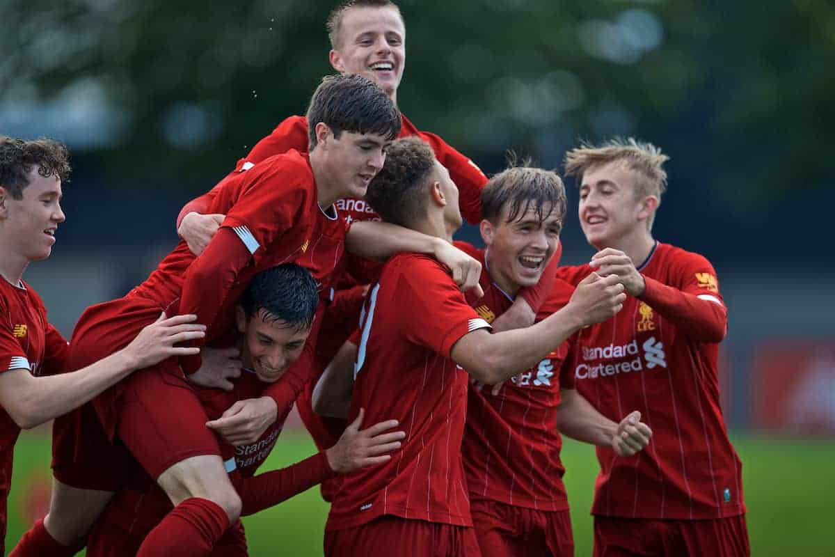 KIRKBY, ENGLAND - Saturday, August 31, 2019: Liverpool's captain Fidel O'Rourke (C) celebrates scoring the second goal with team-mates during the Under-18 FA Premier League match between Liverpool FC and Manchester United at the Liverpool Academy. (Pic by David Rawcliffe/Propaganda)