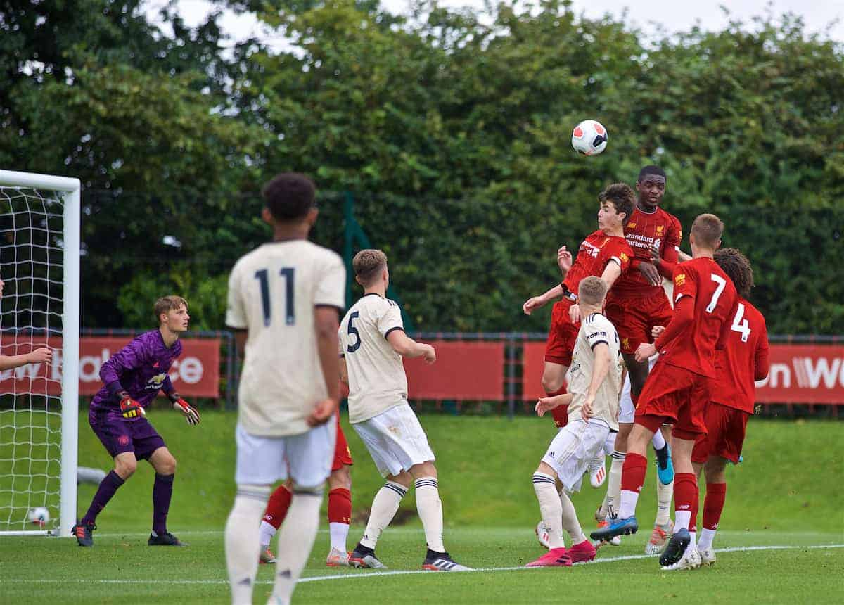 KIRKBY, ENGLAND - Saturday, August 31, 2019: Liverpool's Layton Stewart and Billy Koumetio combine to head the ball into the net for Liverpool's fourth goal during the Under-18 FA Premier League match between Liverpool FC and Manchester United at the Liverpool Academy. (Pic by David Rawcliffe/Propaganda)
