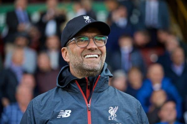 BURNLEY, ENGLAND - Saturday, August 31, 2019: Liverpool's manager Jürgen Klopp before the FA Premier League match between Burnley FC and Liverpool FC at Turf Moor. (Pic by David Rawcliffe/Propaganda)