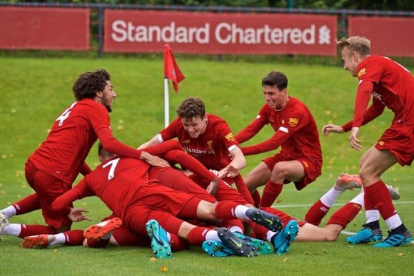 KIRKBY, ENGLAND - Saturday, August 31, 2019: Liverpool players celebrate the fourth goal during the Under-18 FA Premier League match between Liverpool FC and Manchester United at the Liverpool Academy. (Pic by David Rawcliffe/Propaganda)