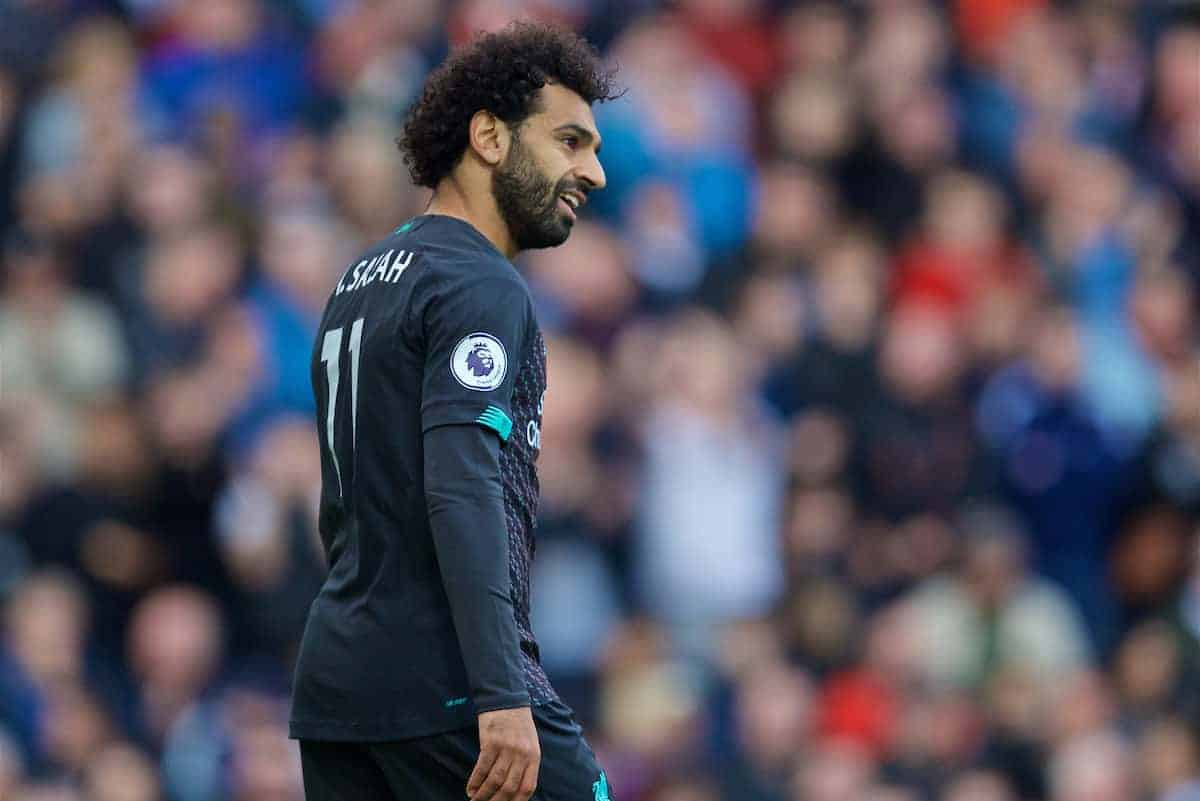 BURNLEY, ENGLAND - Saturday, August 31, 2019: Liverpool's Mohamed Salah during the FA Premier League match between Burnley FC and Liverpool FC at Turf Moor. (Pic by David Rawcliffe/Propaganda)