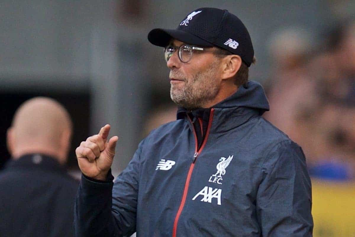 BURNLEY, ENGLAND - Saturday, August 31, 2019: Liverpool's manager Jürgen Klopp reacts during the FA Premier League match between Burnley FC and Liverpool FC at Turf Moor. (Pic by David Rawcliffe/Propaganda)