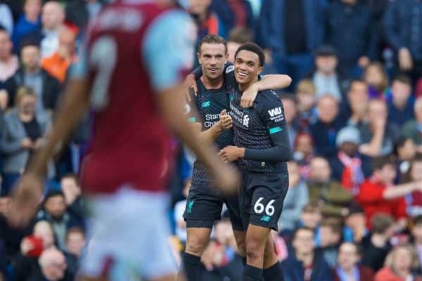 BURNLEY, ENGLAND - Saturday, August 31, 2019: Liverpool's Trent Alexander-Arnold celebrates the first goal with team-mate captain Jordan Henderson during the FA Premier League match between Burnley FC and Liverpool FC at Turf Moor. (Pic by David Rawcliffe/Propaganda)