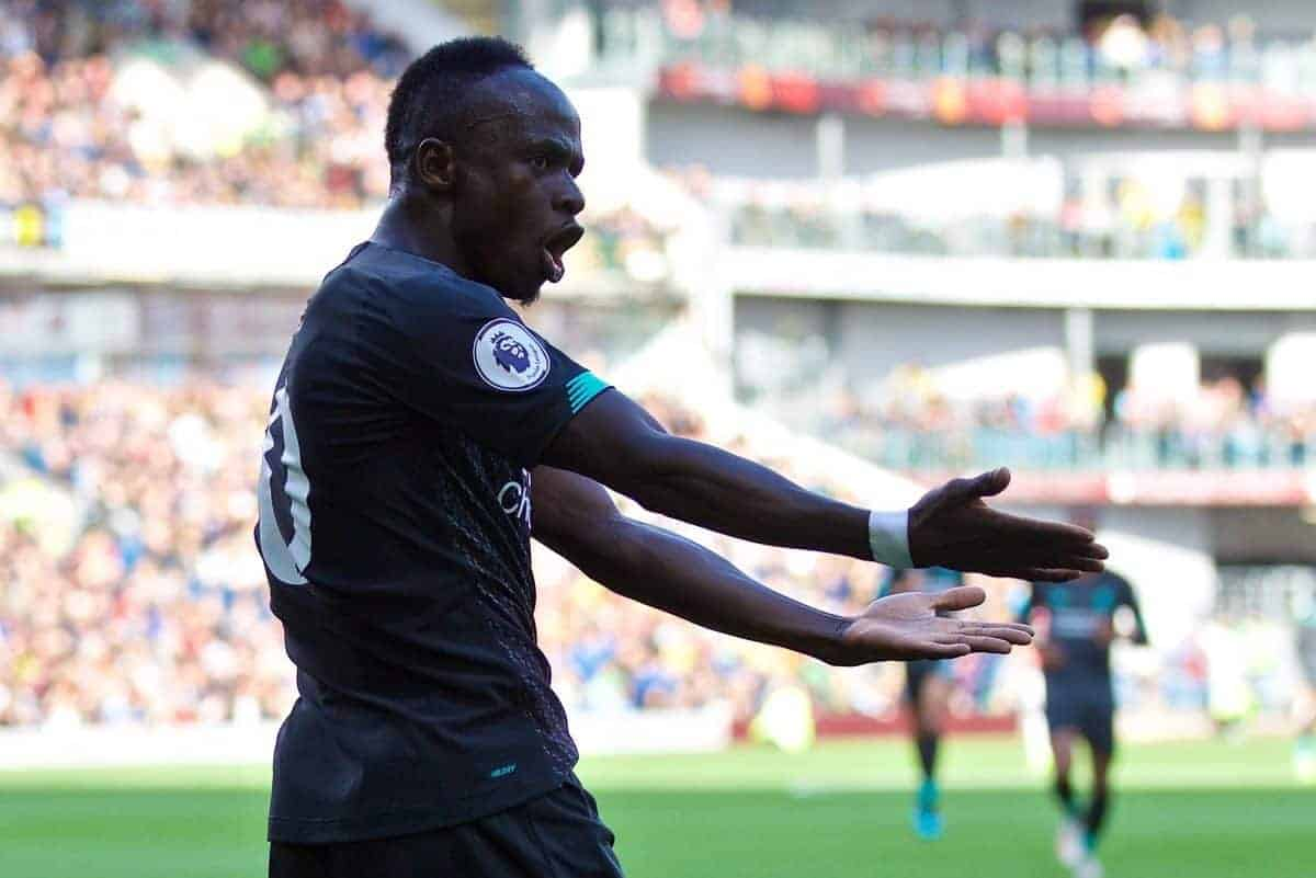 BURNLEY, ENGLAND - Saturday, August 31, 2019: Liverpool's Sadio Mane celebrates scoring the second goal during the FA Premier League match between Burnley FC and Liverpool FC at Turf Moor. (Pic by David Rawcliffe/Propaganda)