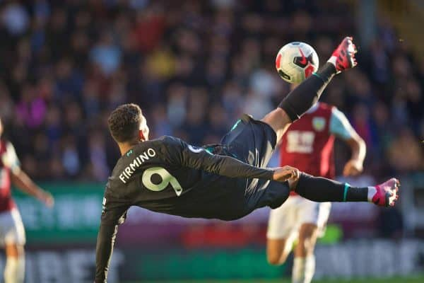 BURNLEY, ENGLAND - Saturday, August 31, 2019: Liverpool's Roberto Firmino tries overhead bicycle kick during the FA Premier League match between Burnley FC and Liverpool FC at Turf Moor. (Pic by David Rawcliffe/Propaganda)