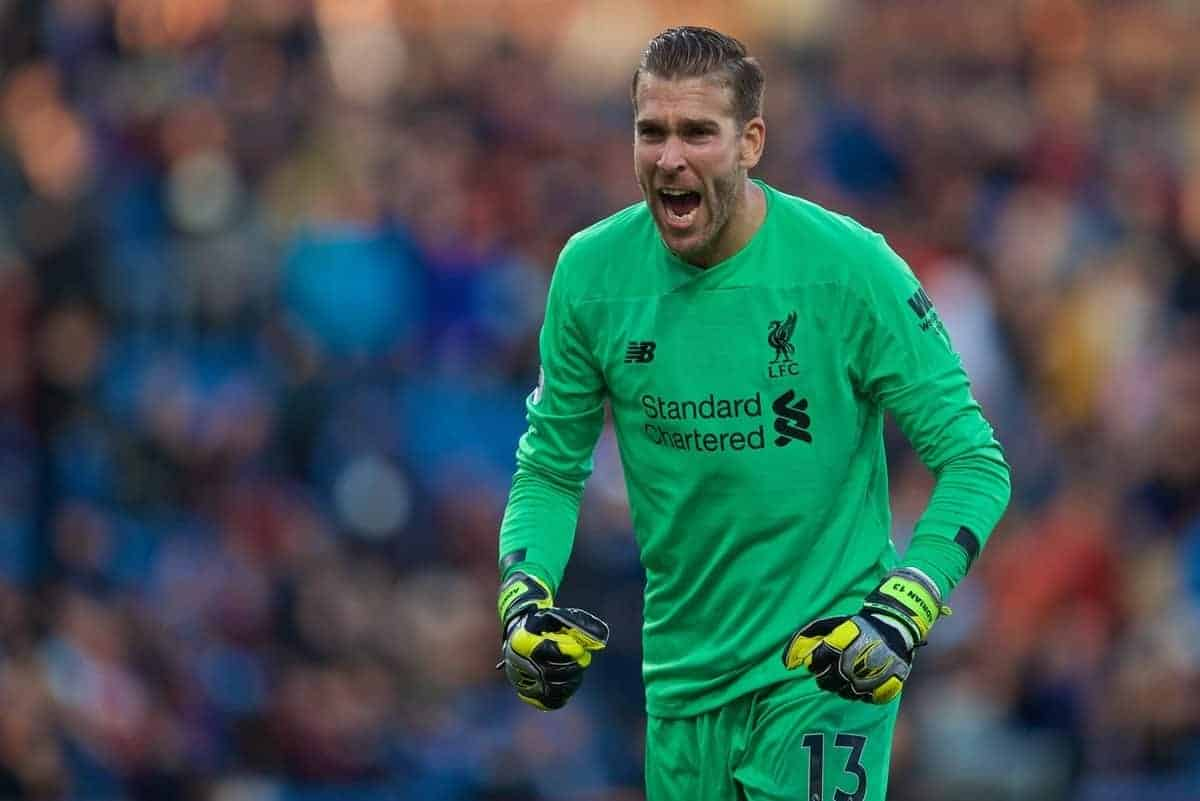 BURNLEY, ENGLAND - Saturday, August 31, 2019: Liverpool's goalkeeper Adrián San Miguel del Castillo celebrates after the FA Premier League match between Burnley FC and Liverpool FC at Turf Moor. Liverpool won 3-0. (Pic by David Rawcliffe/Propaganda)