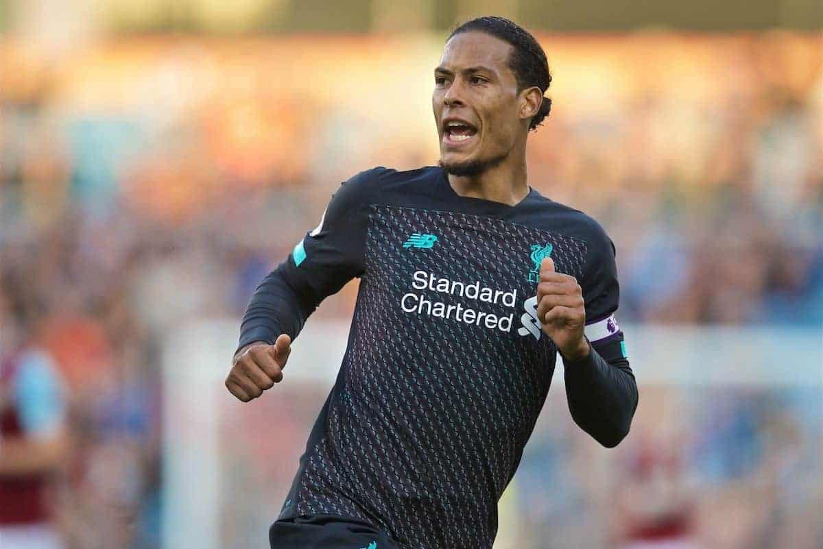 BURNLEY, ENGLAND - Saturday, August 31, 2019: Liverpool's Virgil van Dijk during the FA Premier League match between Burnley FC and Liverpool FC at Turf Moor. (Pic by David Rawcliffe/Propaganda)