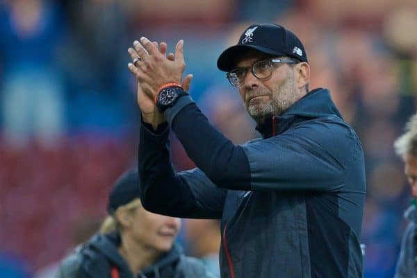BURNLEY, ENGLAND - Saturday, August 31, 2019: Liverpool's manager Jürgen Klopp celebrates after the FA Premier League match between Burnley FC and Liverpool FC at Turf Moor. Liverpool won 3-0. (Pic by David Rawcliffe/Propaganda)