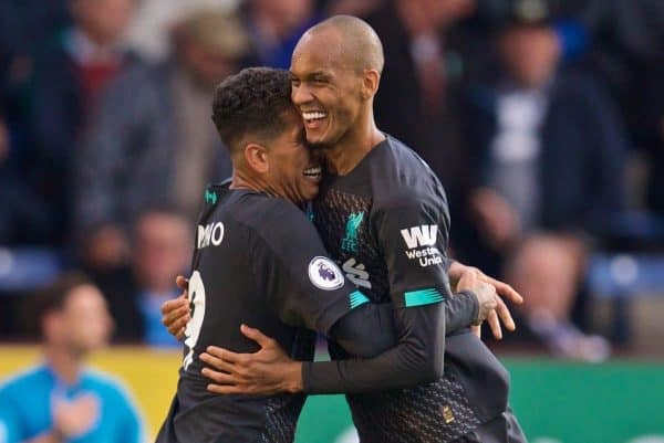 BURNLEY, ENGLAND - Saturday, August 31, 2019: Liverpool's Roberto Firmino (L) celebrates scoring the third goal with team-mate Fabio Henrique Tavares 'Fabinho' during the FA Premier League match between Burnley FC and Liverpool FC at Turf Moor. (Pic by David Rawcliffe/Propaganda)
