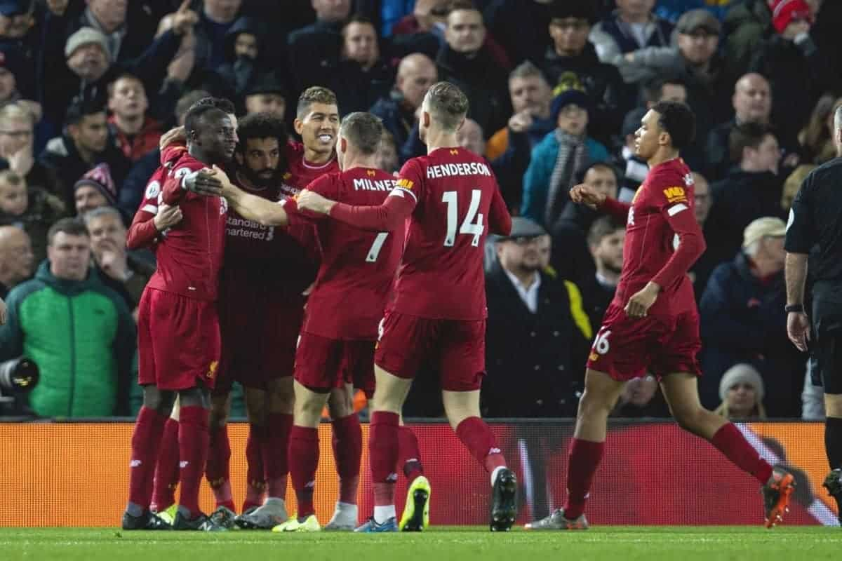 LIVERPOOL, ENGLAND - Thursday, January 2, 2020: Liverpool's Mohamed Salah (2nd from L) celebrates scoring the first goal with team-mates during the FA Premier League match between Liverpool FC and Sheffield United FC at Anfield. (Pic by David Rawcliffe/Propaganda)