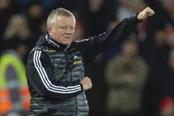 Sheffield United's manager Chris Wilder during the FA Premier League match between Liverpool FC and Sheffield United FC at Anfield. (Pic by David Rawcliffe/Propaganda)