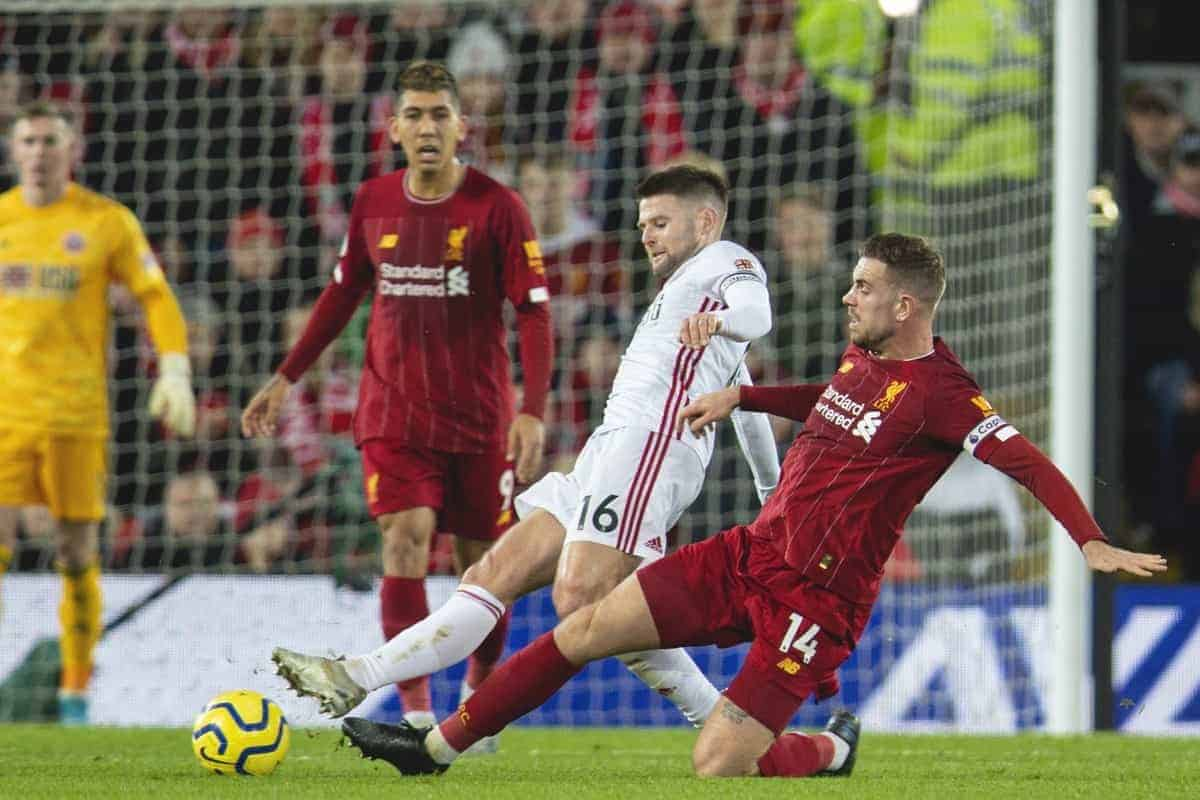 LIVERPOOL, ENGLAND - Thursday, January 2, 2020: Liverpool's captain Jordan Henderson (R) and Sheffield United's Oliver Norwood during the FA Premier League match between Liverpool FC and Sheffield United FC at Anfield. (Pic by David Rawcliffe/Propaganda)