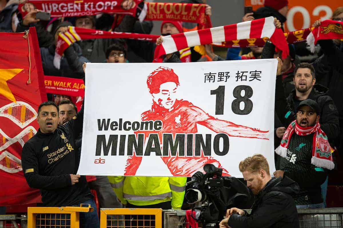 LIVERPOOL, ENGLAND - Thursday, January 2, 2020: Liverpool supporters with a banner for new signing Japan international Takumi Minamino during the FA Premier League match between Liverpool FC and Sheffield United FC at Anfield. (Pic by David Rawcliffe/Propaganda)