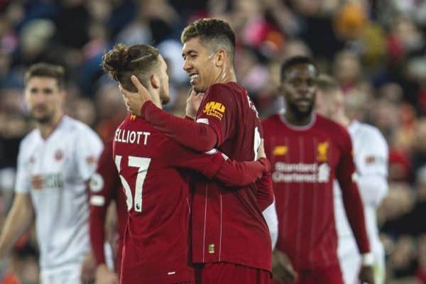 LIVERPOOL, ENGLAND - Thursday, January 2, 2020: Liverpool's Roberto Firmino (R) with substitute Harvey Elliott after the FA Premier League match between Liverpool FC and Sheffield United FC at Anfield. Liverpool won 2-0. (Pic by David Rawcliffe/Propaganda)