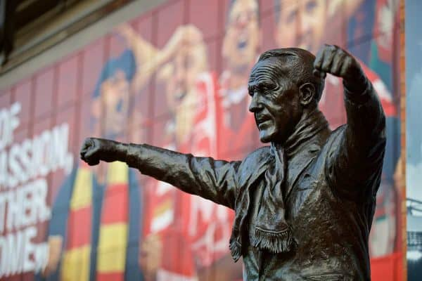 LIVERPOOL, ENGLAND - Sunday, January 5, 2020: A statue of Bill Shankly pictured before the FA Cup 3rd Round match between Liverpool FC and Everton FC, the 235th Merseyside Derby, at Anfield. (Pic by David Rawcliffe/Propaganda)