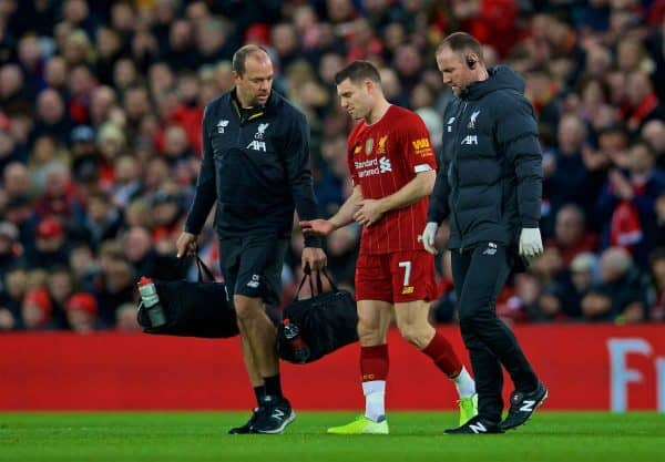 LIVERPOOL, ENGLAND - Sunday, January 5, 2020: Liverpool's captain James Milner goes off injured during the FA Cup 3rd Round match between Liverpool FC and Everton FC, the 235th Merseyside Derby, at Anfield. (Pic by David Rawcliffe/Propaganda)
