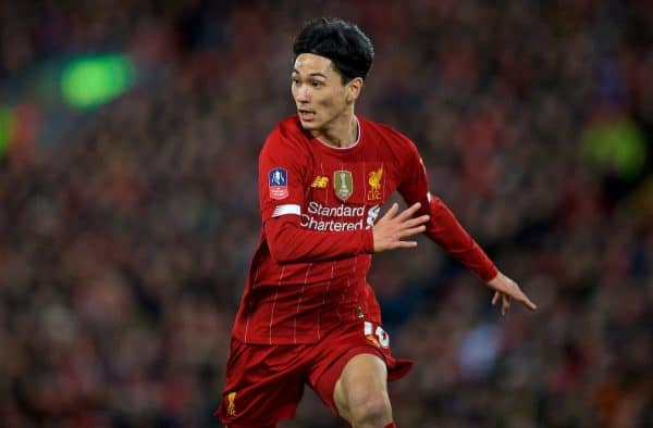 LIVERPOOL, ENGLAND - Sunday, January 5, 2020: Liverpool's new signing Japan international Takumi Minamino during the FA Cup 3rd Round match between Liverpool FC and Everton FC, the 235th Merseyside Derby, at Anfield. (Pic by David Rawcliffe/Propaganda)