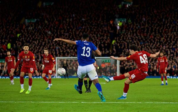 LIVERPOOL, ENGLAND - Sunday, January 5, 2020: Liverpool's Curtis Jones scores the first goal during the FA Cup 3rd Round match between Liverpool FC and Everton FC, the 235th Merseyside Derby, at Anfield. (Pic by David Rawcliffe/Propaganda)