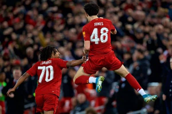 LIVERPOOL, ENGLAND - Sunday, January 5, 2020: Liverpool's Curtis Jones celebrates scoring the first goal during the FA Cup 3rd Round match between Liverpool FC and Everton FC, the 235th Merseyside Derby, at Anfield. (Pic by David Rawcliffe/Propaganda)